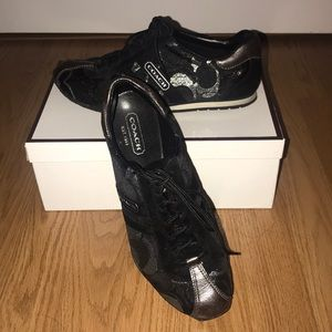 Black and silver COACH shoes